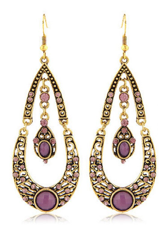 Rhinestoned Water Drop Shape Earrings - PURPLE  Mobile