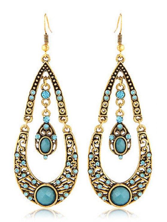 hot Rhinestoned Water Drop Shape Earrings - LAKE BLUE