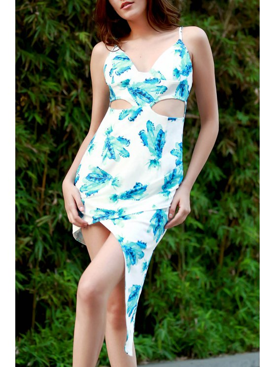 Hawaiian Green Print Cami Asymmetrical Bodycon Dress - WHITE XL Mobile