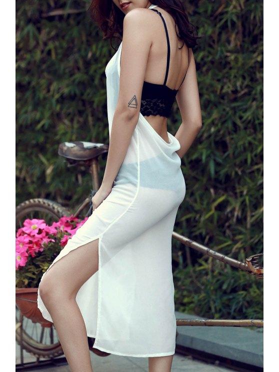 Sin mangas de gasa vestido de Side Vent - Blanco L