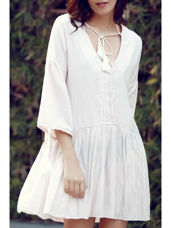 3/4 Sleeve Flared Apricot Dress - APRICOT S Mobile