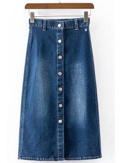 Brief Buttoned A Line Skirt For Women - Deep Blue Xl