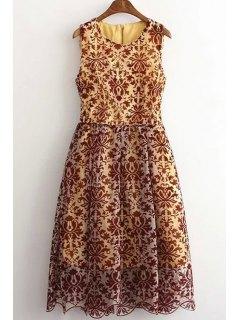 Sleeveless Baroque Pattern Lace Dress - L