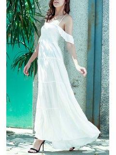 White Spaghetti Straps A Line Maxi Dress - White S