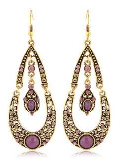 Rhinestoned Water Drop Shape Earrings - Purple