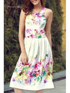 Sleeveless Floral Print Cutout Sundress - White Xl