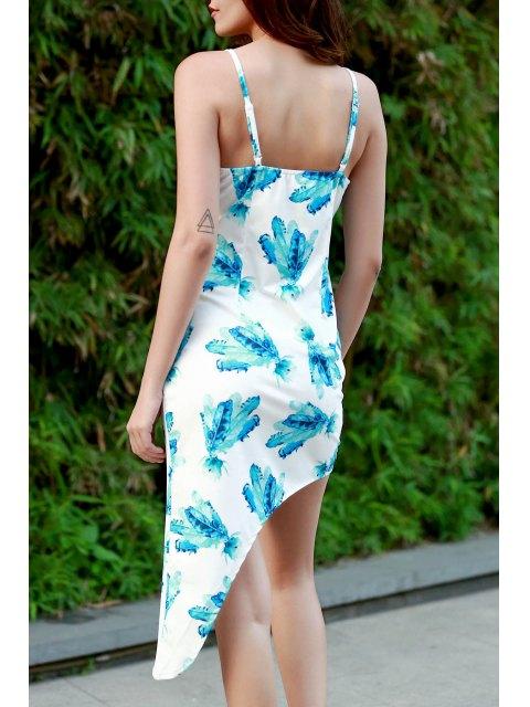 fashion Hawaiian Green Print Cami Asymmetrical Bodycon Dress - WHITE L Mobile