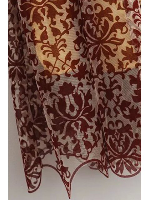 women Sleeveless Baroque Pattern Lace Dress - COLORMIX L Mobile