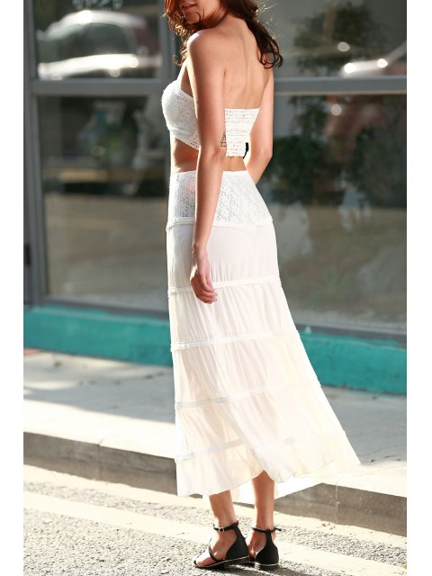 outfits Tuve-Top and Maxi Skirt Two Piece Prom Dress - WHITE M Mobile