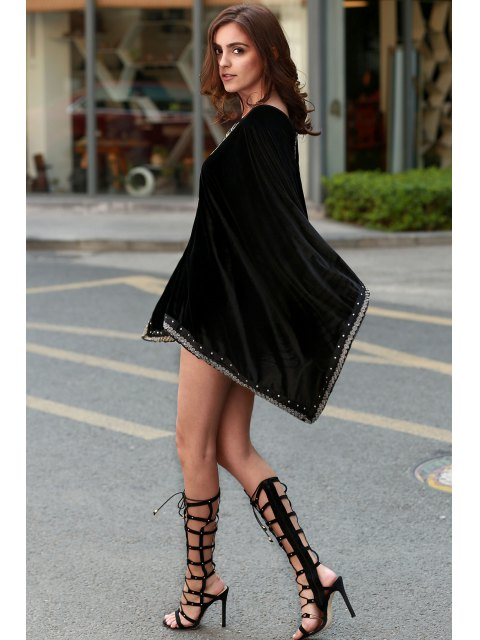chic Embroidery Beaded Long Sleeve Dress - BLACK S Mobile