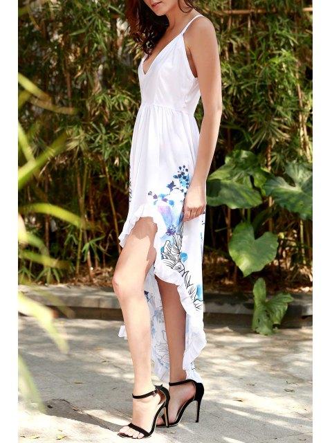 outfits Asymmetric Floral Print Maxi Slip Dress - WHITE XL Mobile