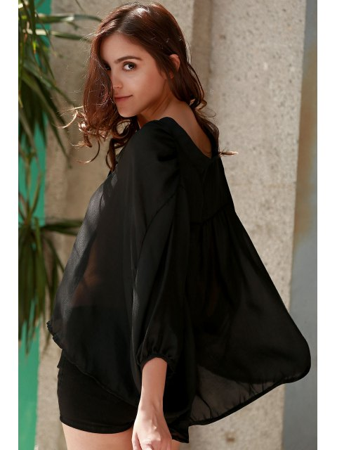 shops See-Through Plunging Neck Half Sleeve Blouse - BLACK S Mobile
