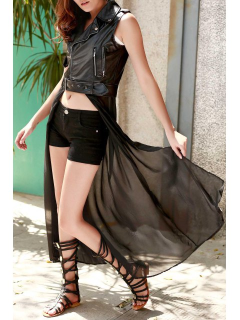 outfits Black PU Leather Turn Down Collar Waistcoat - BLACK S Mobile