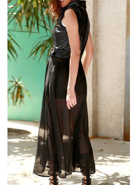 shops Black PU Leather Turn Down Collar Waistcoat - BLACK L Mobile