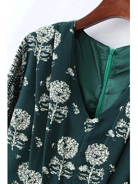 hot Dandelion Print V-Neck Long Sleeve Dress - RED M Mobile