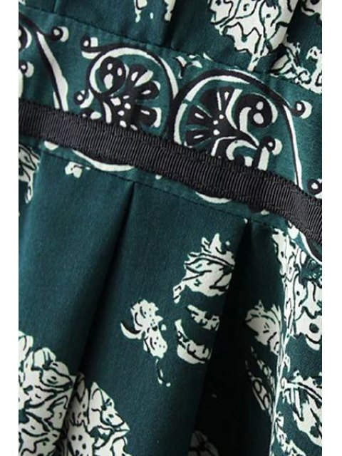 new Dandelion Print V-Neck Long Sleeve Dress - GREEN L Mobile
