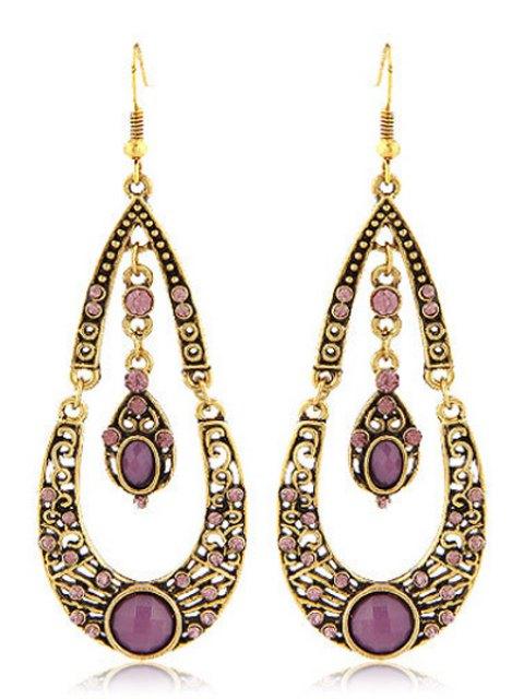 outfit Rhinestoned Water Drop Shape Earrings - PURPLE  Mobile