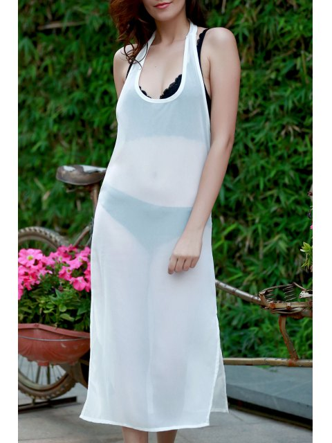 chic Sleeveless Side Vent Chiffon Dress - WHITE L Mobile