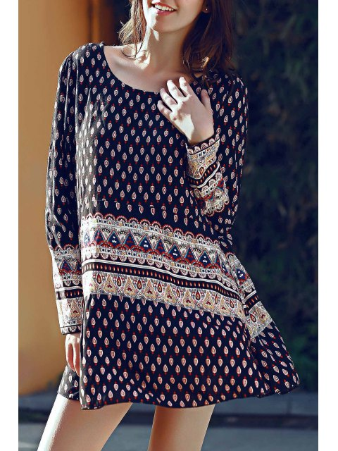 latest Long Sleeve Floral Print Tunic Dress - BLACK S Mobile