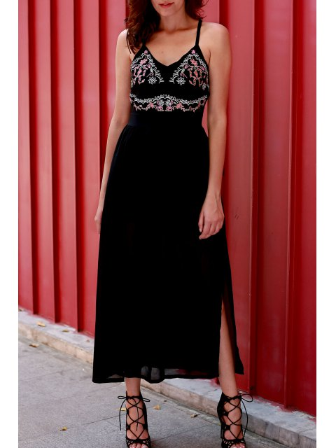 lady Embroidered High Slit Chiffon Maxi Dress - BLACK L Mobile