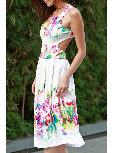 buy Sleeveless Floral Print Cutout Sundress - WHITE XL Mobile