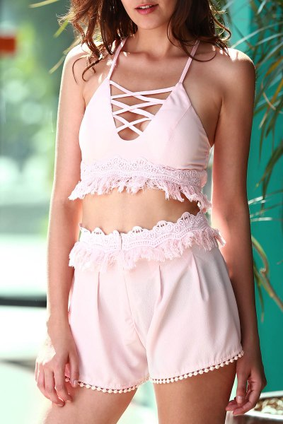 Cami Pink Crop Top and Tassels Shorts Suit