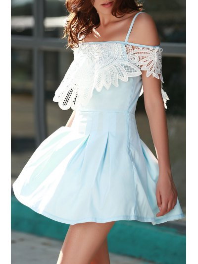Cami Lace Spliced A Line Dress - LIGHT BLUE M Mobile