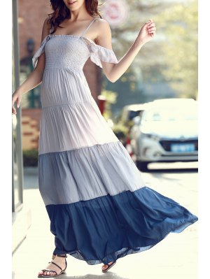 Ombre Color Spaghetti Straps Maxi Dress - Gray