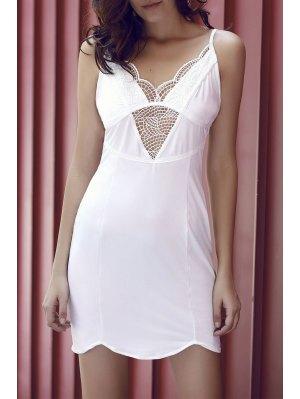 Lace Spliced Cami Bodycon Dress - White