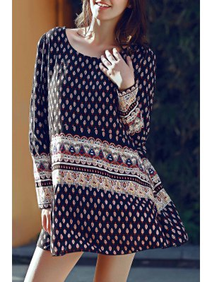 Long Sleeve Floral Print Tunic Dress - Black