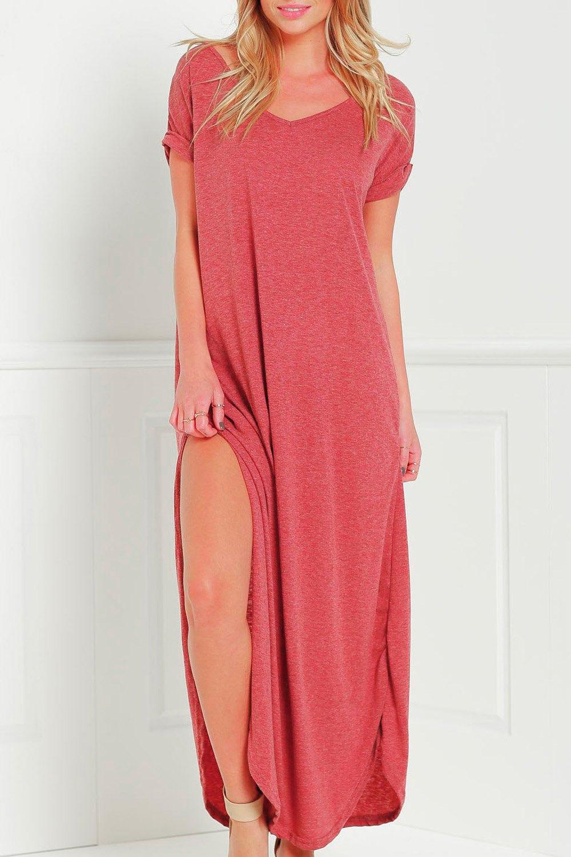 V Neck Short Sleeve Pure Color Dress