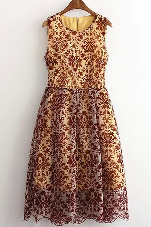 Round Neck Sleeveless Baroque Pattern Lace Dress