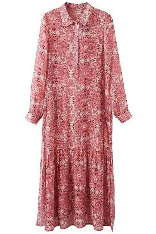 Turn-Down Collar Long Sleeve Printed Midi Dress