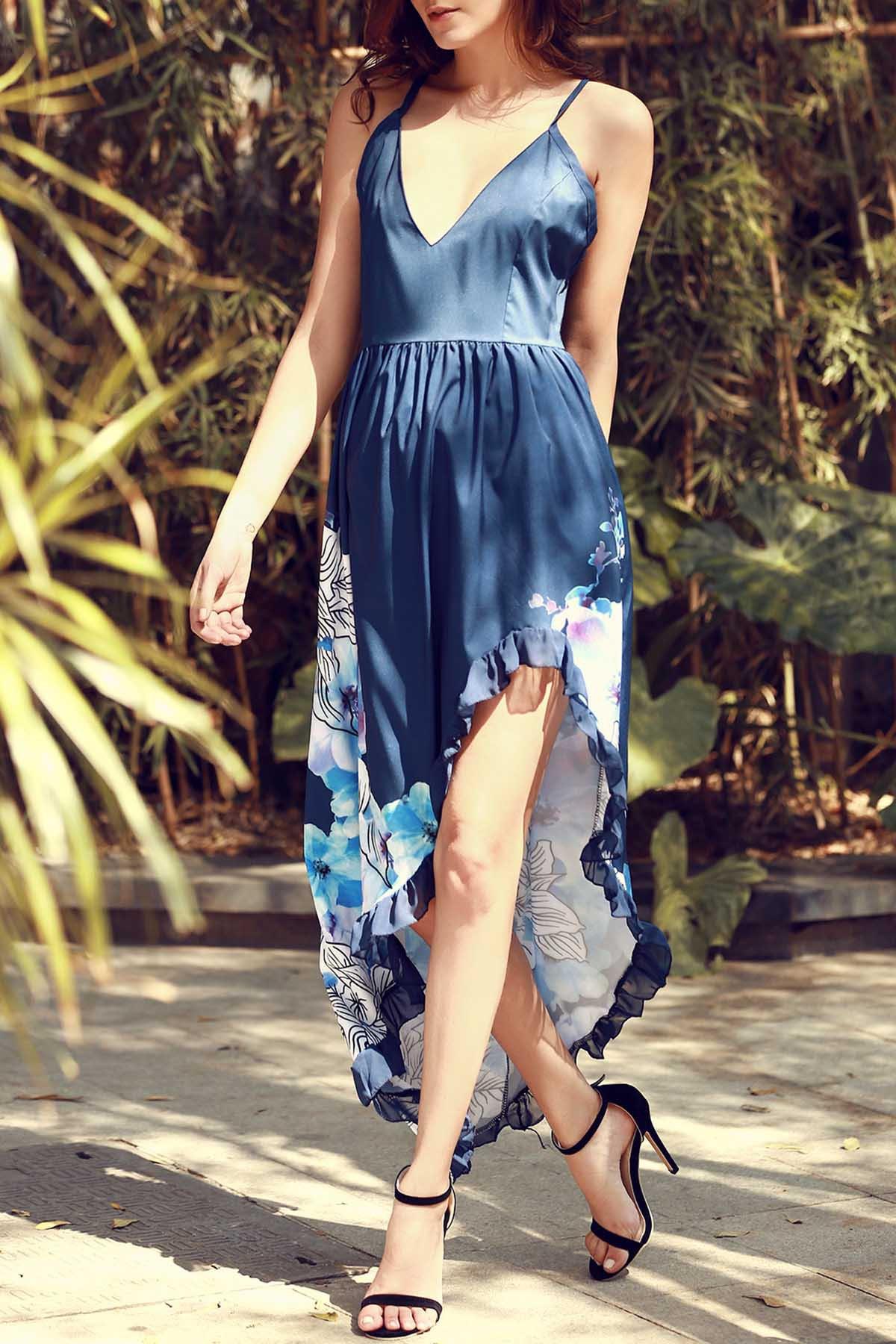 Spaghetti Strap Color Block Floral Print Slit Sleeveless Dress