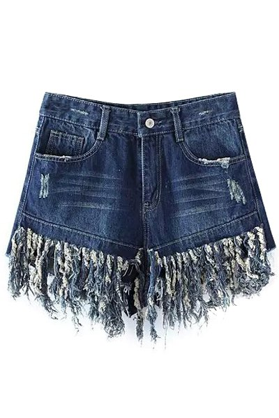 High Waisted Tassels Spliced Denim Shorts
