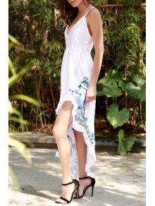 Spaghetti Strap Color Block Floral Print Slit Dress - WHITE S