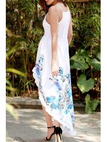 Spaghetti Strap Color Block Floral Print Slit Dress