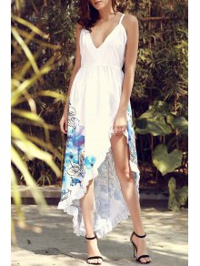 Asymmetric Floral Print Maxi Slip Dress
