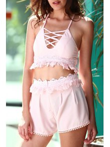 Pink Cami Crop Top And Tassels Shorts Suit - Light Pink S