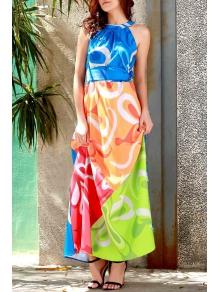 Sleeveless Colorful Maxi Dress - COLORMIX S