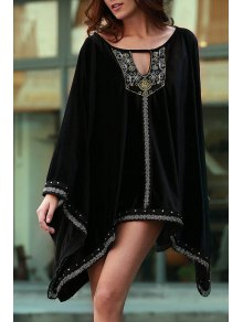 Embroidery Beaded Long Sleeve Dress - Black