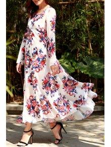 Flowers Print Long Sleeve Maxi Dress