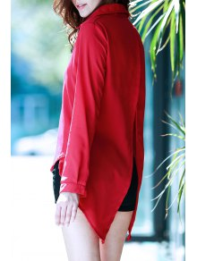 Fly By Cape Red Blouse - Deep Red S