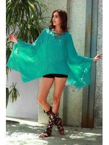 Color Sólido Con Cuello En V Vestido Largo De La Manga Floja - Turquesa