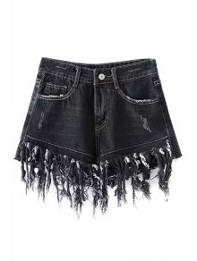 Tassels Spliced High Waisted Denim Shorts