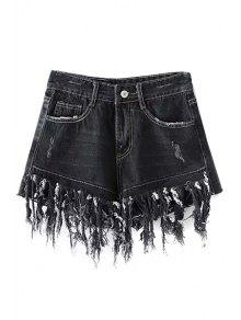 Tassels Spliced High Waisted Denim Shorts