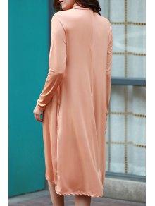 Pure Color Turtle Neck Long Sleeve Loose Dress - ORANGE XL