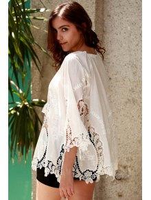 Isabel Crochet Plunging Neck White Blouse - WHITE S
