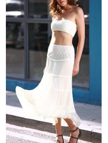 Tuve-Top And Maxi Skirt Two Piece Prom Dress - White