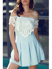 Cami Lace Spliced A Line Dress - Light Blue L